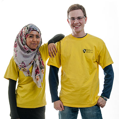 Two students with Yellow t-shirts