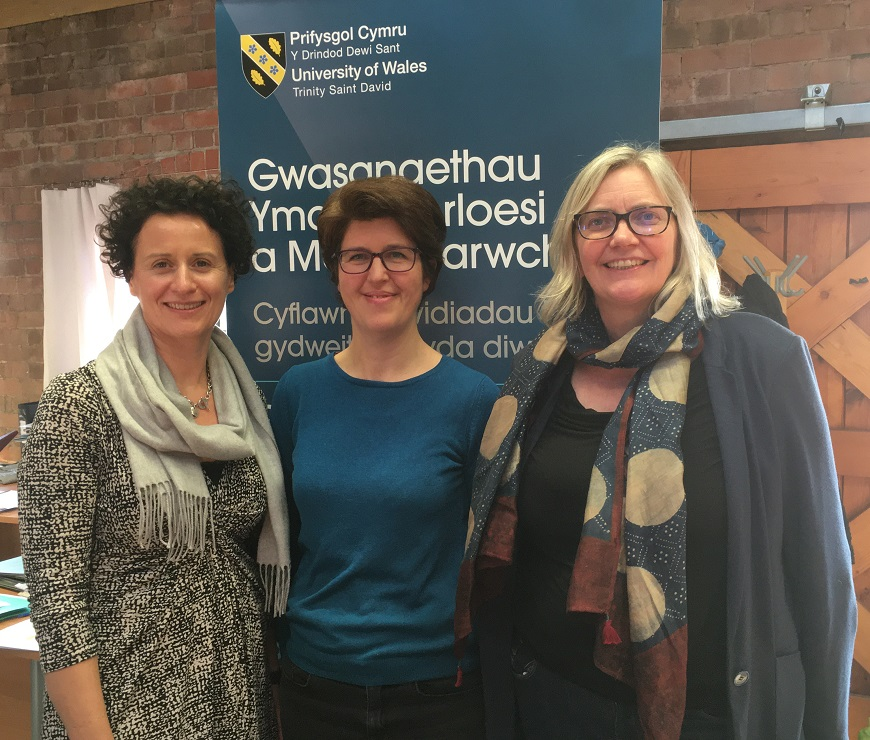Helgard Krause, Chief Executive of the Books Council of Wales; Megan Farr, PhD student and Professor Elin Haf Gruffydd Jones, UWTSD
